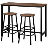COSTWAY 3-Piece Pub Table Set, Bar Table with 2PCS Backless Bar Stools, Fashionable Simple Style, Kitchen Counter Height Dining Design, Breakfast Table Set for Kitchen, Restaurant, Small Space (Brown)