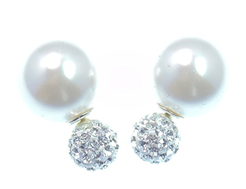 Original LaFemme Tribal Ohrringe, faccetiertes TruColor Kristall, große Kugel natur Perlmutt weiß, Pins in 925 Sterling Silber,Versand innerhalb 24 Stunden !!!
