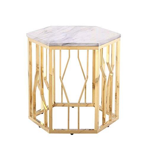 Beistelltisch Couchtisch Sofatisch Metal Side Accent Table Marble Top End Tische, Couchtisch, Nachttisch, Gold, 58 * 50 * 53CM Beistelltisch Couchtisch (Color : White)