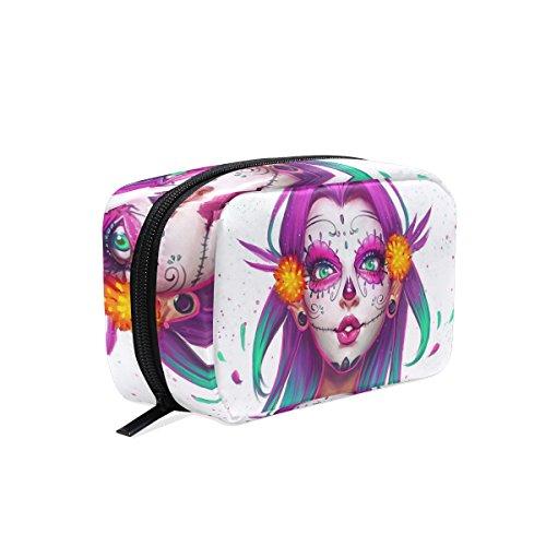 TIZORAX Sugar Skull Niña Pintura Práctica Bolsa de Cosméticos Bolso de Maquillaje Organizador Bolsa de Viaje