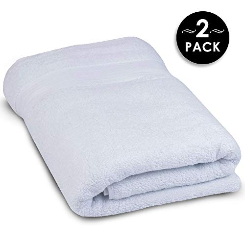 Super Thick and Thirsty 1,000 GSM Turkish Cotton Oversized Bath Sheets for Bathrooms Bed and Breakfast or Spa - Extra Large White Eco-Friendly Bath Towel Set, 30x60