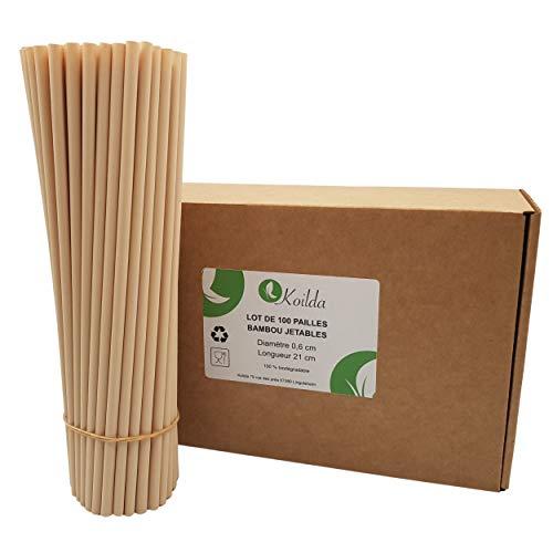 KOILDA   Set di 100 cannucce in fibra di bambù usa e getta   23 cm Ø 0,6 cm   biodegradabile ed ecologico   ideale per succhi di frutta, cocktail, sciroppo e qualsiasi bevanda.