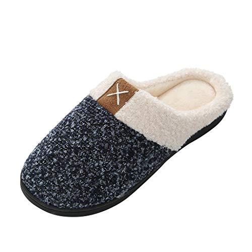 HDUFGJ Hausschuhe Herren Damen warme Pantoffeln Plüsch Warm rutschfeste Slippers Home Pantoffeln Bequem Wärme Halten House Schuhe44 EU-45 EU(Grau)