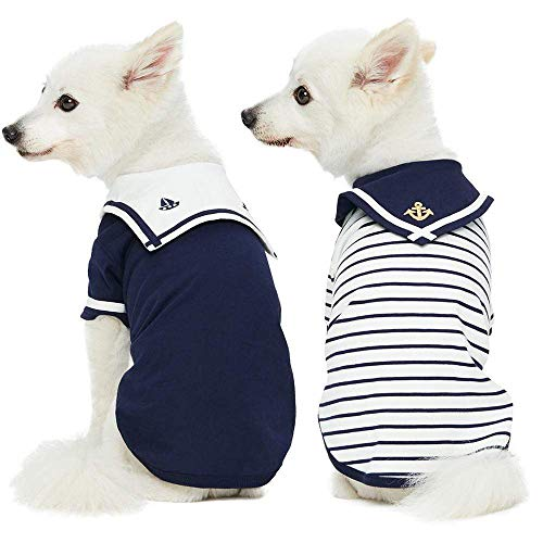 Blueberry Pet Pack of 2 Soft & Comfy Sailor Suit Style Inspired Cotton Dog T Shirts in Navy Blue, Back Length 14', Clothes for Dogs