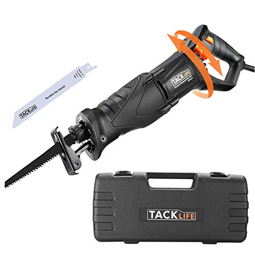 TACKLIFE Reciprocating Saw, 850W 0-2800RPM Sabre Saw with Rotary Handle(90°...