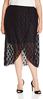 Star Vixen Women's Plus Size Stretchy Lace Pull-On Easy Maxi-Length Skirt with Short/Miniskirt Lining