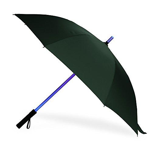 LED Regenschirm im Laserschwert-Design Schwarz Star Wars Schirm mit 7 Farben und Integrierter Taschenlampe (Grün1)