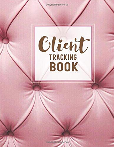 Client Tracking Book: Pink Sofa leather background, Client tracker information with index and page number, Customer service keeper log book, Client ... For Barbers, Hair Stylists, Salons, Nails