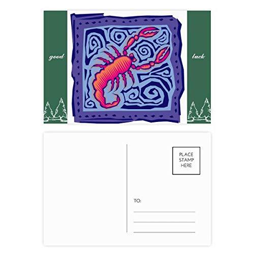 Konstellation Skorpion Mexikanische Kultur-Gravur Glücksbringer Postkartenset Karte Mailing Seite 20 Stück