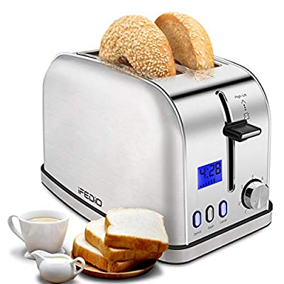 iFedio Toasters 2 Slice Best Rated Prime Toaster Stainless Steel with LCD Timer Display Wide Slots Bagel Defrost Cancel Function for Breakfast Removable Crumb Tray, 900W, Silver
