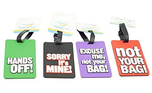 World Tour - Comical Luggage Tag Assorted Designs Supply 1 at Random, Pack of 2