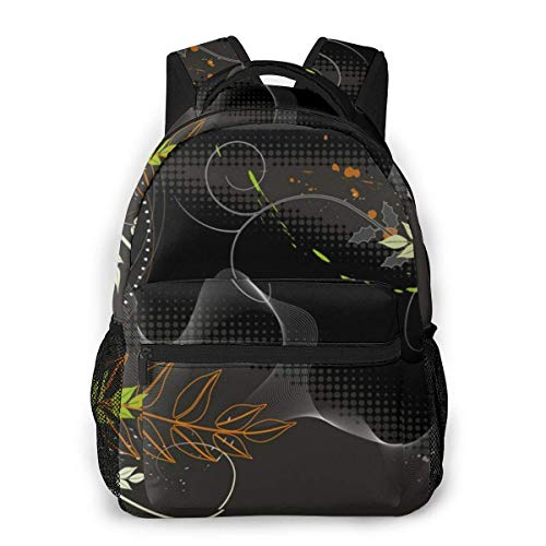 LNLN Mochila Casual verdeFashion Leisure Backpack Wallpaper Plants Unisex Print Travel Backpack, School Backpacks