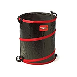 Toro 29210 43-Gallon Gardening Spring Bucket 1 Toro 43-gallon collapsible spring bucket ideal for garden debris Extra strong sleeved spring for secure upright standing Made from tear- and mildew-resistant, UV treated mesh supported plastic canvas