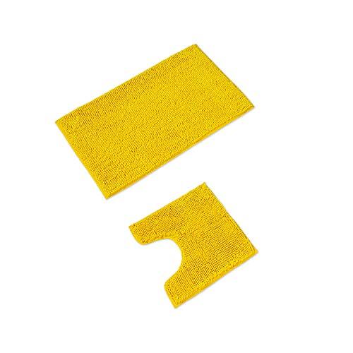 WohnDirect Badematten Set • WC Vorleger (45x45cm), Badematte (50x80cm) • rutschfest waschbar Badezimmerteppich MIT WC-Ausschnitt - Gelb