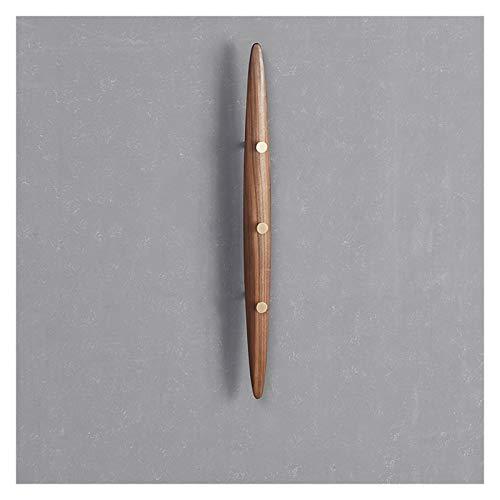 Perchero de pared de madera maciza de nogal negro con 3 ganchos de metal, perfecto para tu entrada, cocina, baño (color: nogal)
