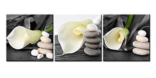 Lot de 3 impressions sur toile pour décoration murale Photo nature morte Fleur de lys blanche avec galets gris zen sur fond noir Illustration encadrée