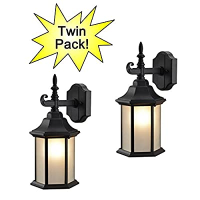 Hardware House 19-2132 & 19-2057 Patio / Porch Wall Mount Exterior Lighting Lantern Fixtures with Frosted Glass - Twin Packs