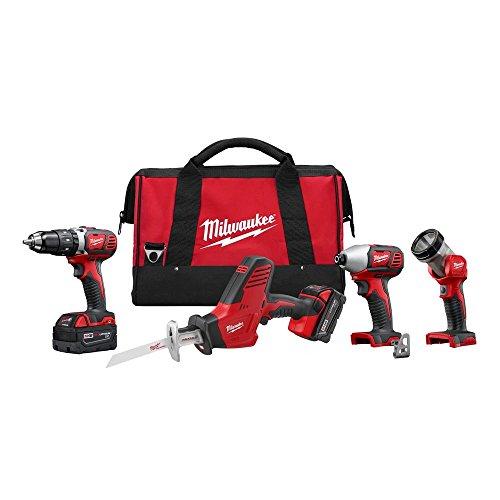 Milwaukee 2695-24 M18 18V Cordless Combo Kit - Drill / Hackzall/ Hex Impact Driver/ M18 Led Work Light