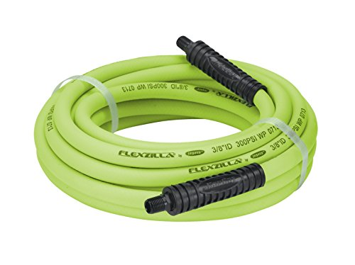 Flexzilla Air Hose, 3/8 in. x 35 ft, 1/4 in. MNPT Fittings, Heavy Duty, Lightweight, Hybrid, ZillaGreen - HFZ3835YW2