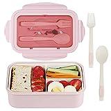Caja de almuerzo, caja de Bento, 1400 ml, caja de Bento con 3 compartimentos y cubiertos, caja de...