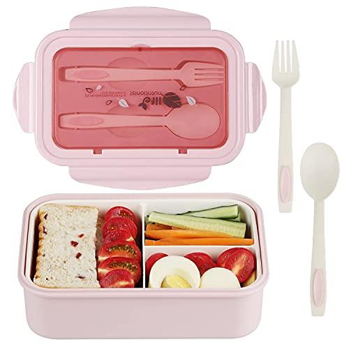 Caja de almuerzo, caja de Bento, 1400 ml, caja de Bento con 3 compartimentos y cubiertos, caja de almuerzo a prueba de fugas, adecuada para hornos de microondas y lavavajillas, salud duradera (Rosado)