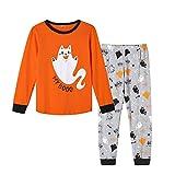 MyFav Unisex Halloween Pajamas Lovely Cat Print Kids Cotton PJS Set, CAT, 14 Years