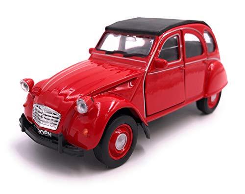 H-Customs Welly Citroën 2CV Décapotable Voiture Modèle Auto Produit licencié 1: 34-1: 39 Rouge à