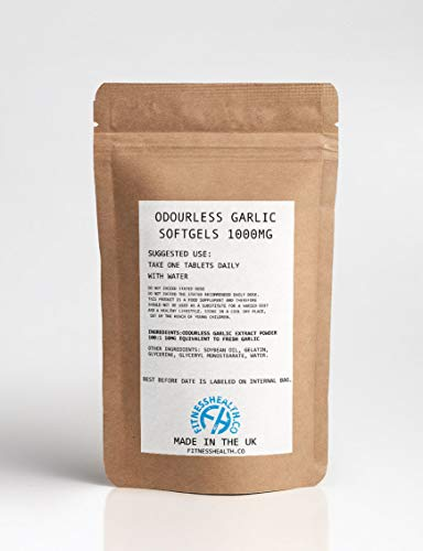 Vitlök SOFTGEL 1000MG ODOURless - stödjer hjärta och cirkulation vitlökkapslar - Två månaders leverans fitness hälsokosttillskott (60 kapslar)