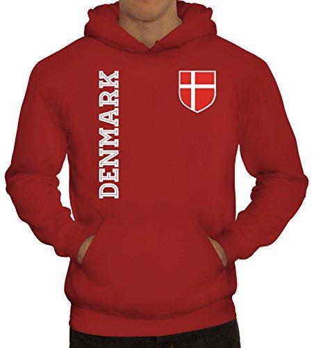 Dänemark Danmark Fußball WM Fanshirt Gruppen Herren Hoodie Männer Kapuzenpullover Fan Trikot Denmark, Größe: 3XL,Rot
