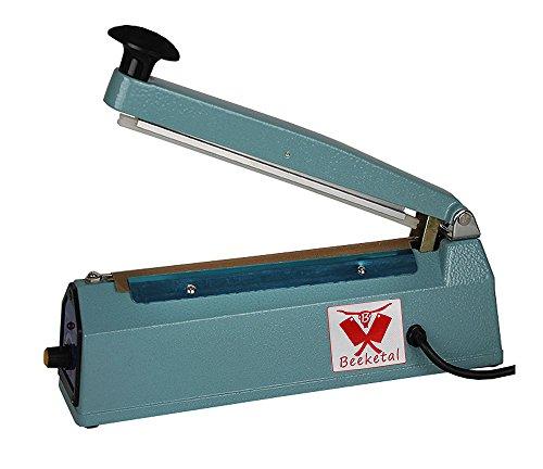 Beeketal 'BP200FS' Profi Impuls Tisch Schweißgerät (keine Aufwärmzeit) mit 200 mm Schweißlänge und 8 mm Schweißbreite, Folien Schweißzeit von 1-8 Sek, Balkenschweißgerät mit Gusseisen Gehäuse