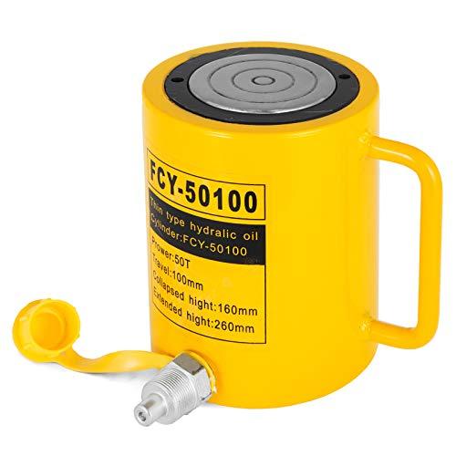 Mophorn 50T 4In Stroke Hydraulic Cylinder Jack Solid Single Acting Hydraulic Ram Cylinder 100mm Hydraulic Lifting Cylinders(50T 4Inch)