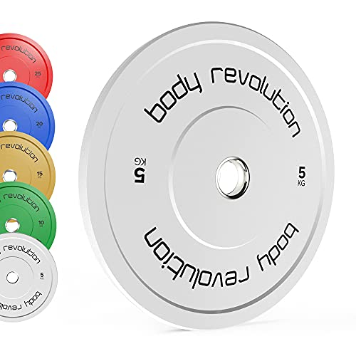 Body Revolution Olympic Rubber Bumper Weight Plates – Coloured Weight Discs for 2 Inch Barbells – For Strength Training and Weightlifting – Range of Weight Variations Sold Separately (5kg quad)