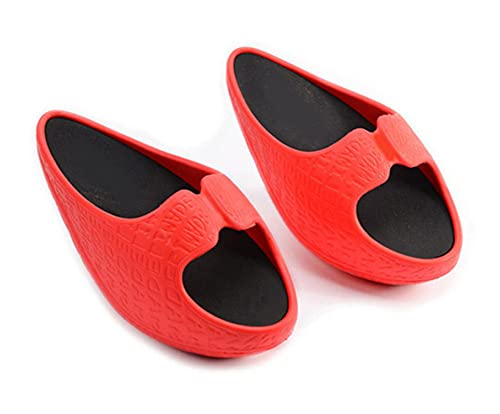 XLH Zapatillas de fitness femeninas para bajar de peso Masaje Negativo Talón Stovepipe Toning Shoes Sneakers Drag Cuñas Plataforma Swing Zapatos, rojo, Medium