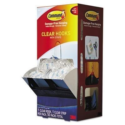 Command - Clear Hooks & Strips Plastic Medium 50 Hooks W/50 Adhesive Strips Per Carton