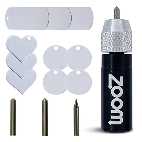Cameo 4 Etching/Engraving 3 in 1 Tool Kit with Precision, Normal, and Blunt Tips and Metal Stamping Blanks for use in Silhouette Cameo 4 by Zoom Precision