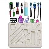 AIAIHU - Molde de silicona para maquillaje, diseño de maquillaje, para fondant, perfumes, para decoración de tartas, para modelar chocolate, fiesta de cumpleaños para niñas y mujeres