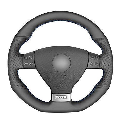 CCALN stuurhoes handgenaaide zwarte PU-kunstlederen autostuurhoes voor Golf 5 Mk5 GTI Golf 5 R32 Passat R GT 2005 Roter Faden