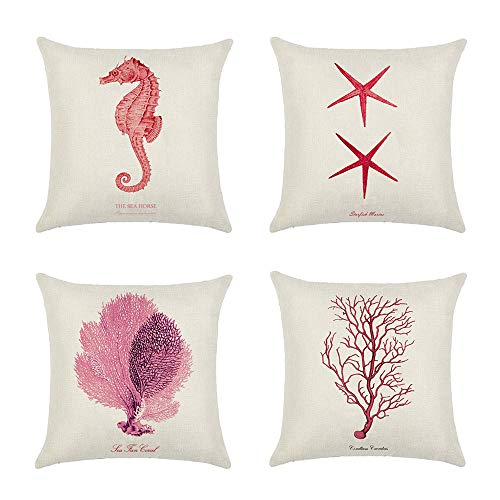 NJZYB Decorative Pillow Cases, Ocean Sea Shell Starfish Coral Theme Decorative Throw Pillow Covers, Sofa Bench Cushion Covers, Set of 4 Summer Decor Pillowcases, 18' x18',A