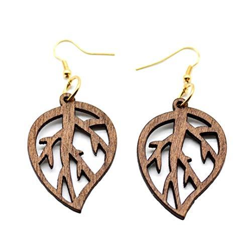 Dojore Boucles d'oreilles en bois avec feuilles en filigrane Marron