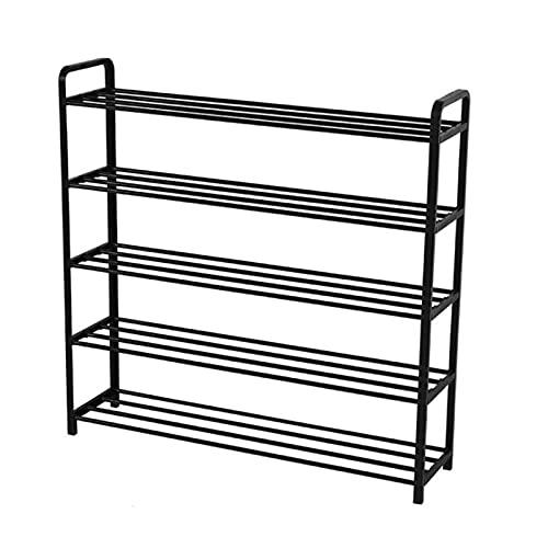 Zapatero moderno de acero con varias capas, fácil de montar, organizador de almacenamiento para zapatos, para el hogar, sala de estar, zapatos (color: negro, tamaño: 5 niveles)