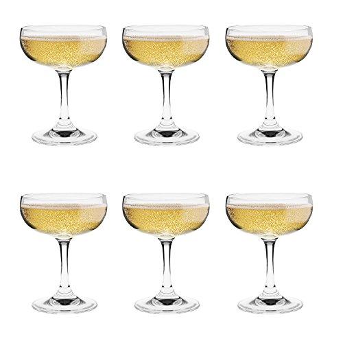 Argon Tableware Copas de champán Tipo Pompadour - En Caja Regalo - 180ml - Pack de 6