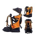 BJYX Babyrúckentragen mit Abnehmbare Schultasche Integrierter Regenhülle und Markise Babytragen Geeignet für Bergsteigen Reisen Wandern Outdoor Maximale Belastung 25 Kg,Orange