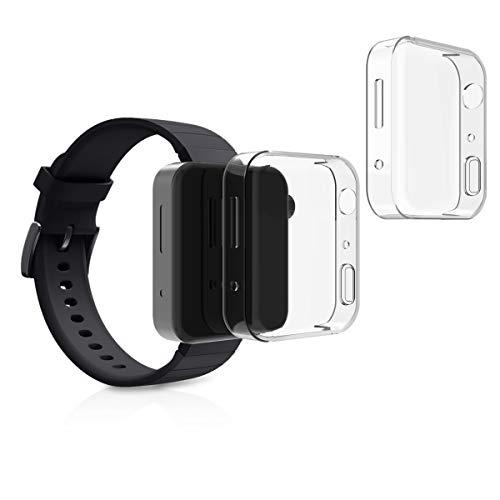 kwmobile Set 2X Compatibile con Xiaomi Mi Watch Cover Protettiva - Custodia Full Body Smartwatch - in Silicone - Trasparente
