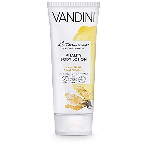 VANDINI Vitality Body Lotion Damen mit Vanilleblüte & Macadamiaöl - Bodylotion für trockene & anspruchsvolle Haut - vegane Körperlotion für Frauen ohne Silikone, Parabene & Mineralöl (1x 200 ml)