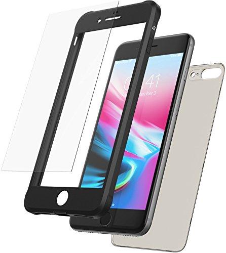 Mobilyos Cover iPhone 8 Plus 360 Gradi + Protezione in Vetro temperato, [Antiurto, Silicone Morbido Antishock ] [ Nero ] Custodia iPhone 7 Plus / 8 Plus con Parte Posteriore Trasparente fumé