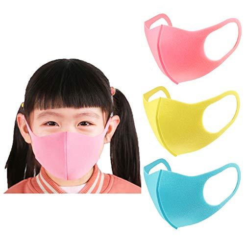 Máscara de polvo para niños, máscara de esponja para boca contra la contaminación infantil Antiniebla para niños Niñas Actividad al aire libre Máscaras transpirables Paquete de 1 (3 piezas)