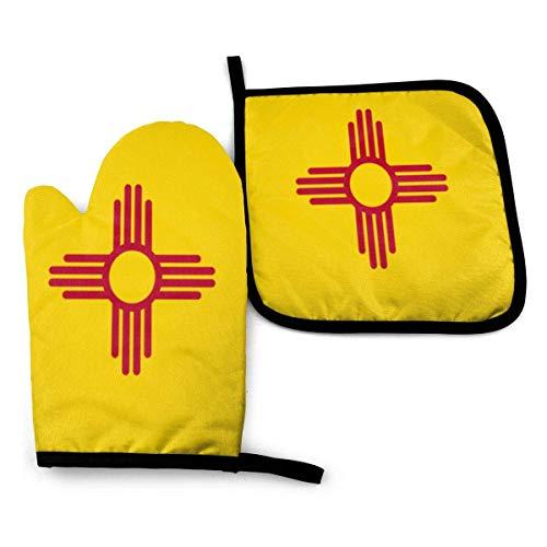 Paedto Juegos de Guantes de Horno Resistentes al Calor Manopla Horno, Guantes de Cocina para Cocinar, Hornear, Barbacoas,Bandera del Estado de Nuevo México