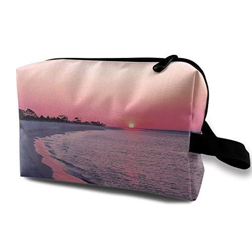 XCNGG Bolsas de maquillaje para mujer Bolsa de cosméticos de viaje portátil multiusos con cremallera Ciudad de Panamá Playa Rosa