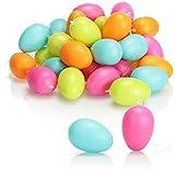com-four® 36x Uova di Pasqua da Appendere - Decorazioni pasquali in Diversi Colori Pastello - Uova di Pasqua di plastica Decorative - Dimensioni: 6 cm