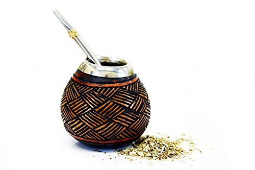 Tealyra - Hand Made Carved - Yerba Mate Gourd and Stainless Steel Bombilla Straw - Made in Argentina...